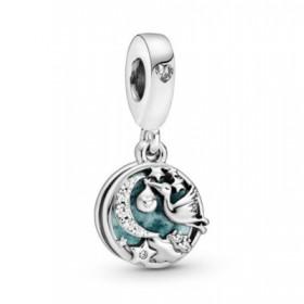 Pandora charm colgante Cigüeña y Estrellas Brillantes en plata