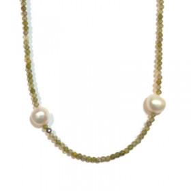 Collar largo de mujer con perlas y espinelas de colores